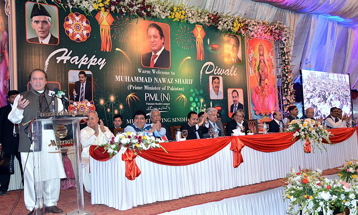 Nawaz Sharif speaks at an event celebrating Diwali. —APP