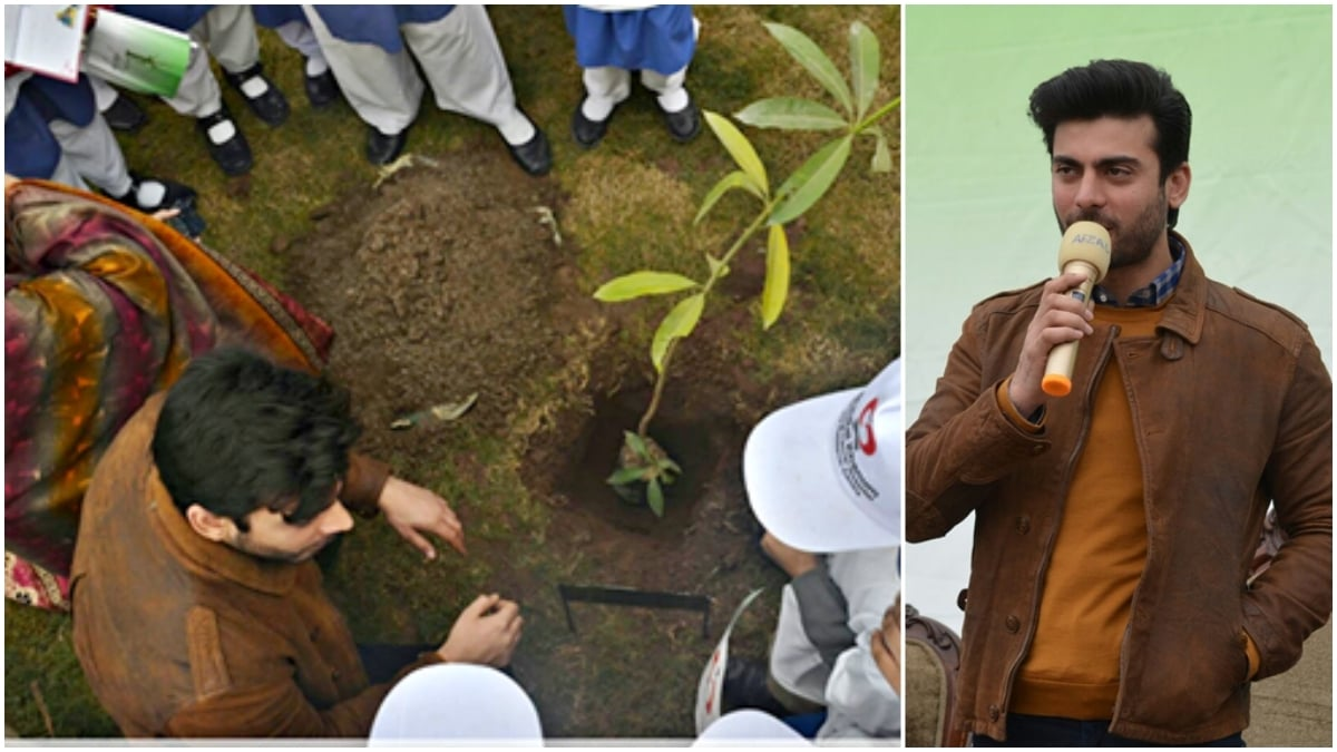 Fawad Khan shows off his green thumb at tree plantation in Peshawar