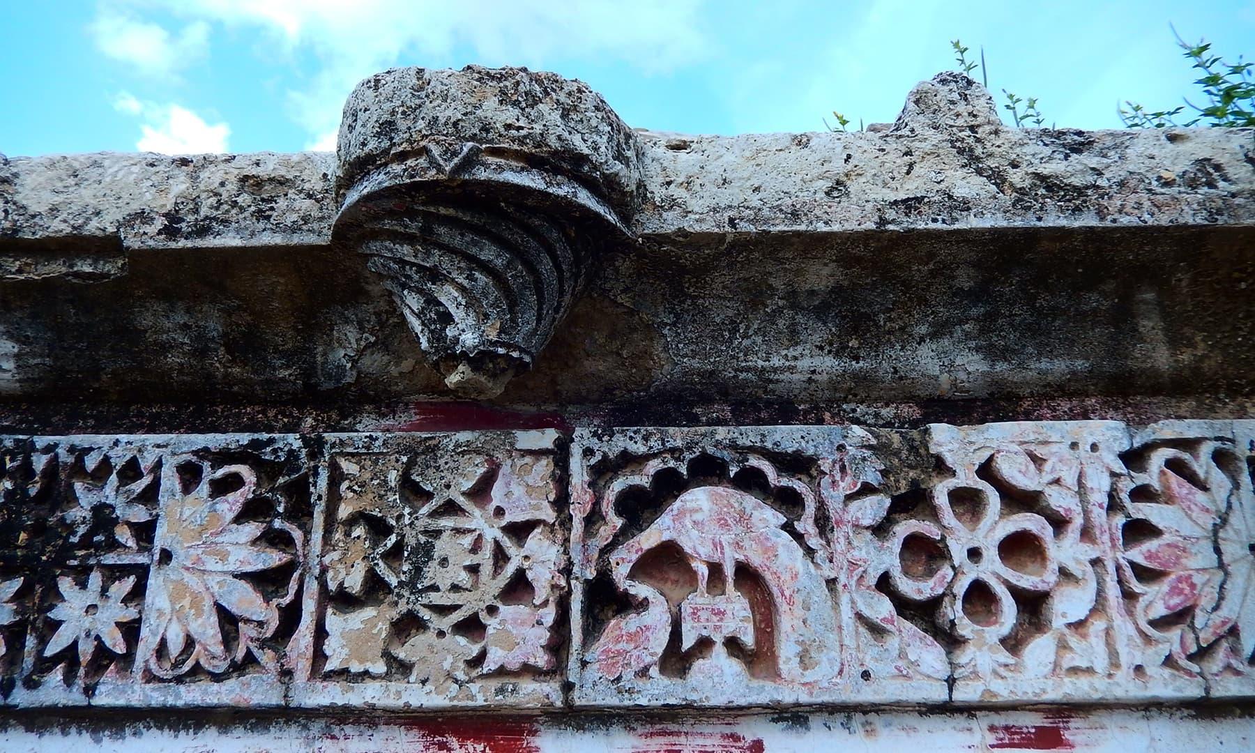 دیواروں پر پرندوں اور جانوروں کی تصویریں بنائی گئی ہیں۔
