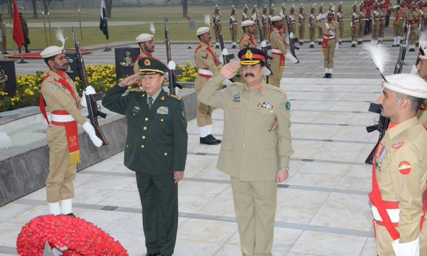 General Fan Changlong lays wreath at martyr's memorial. —Photo ISPR