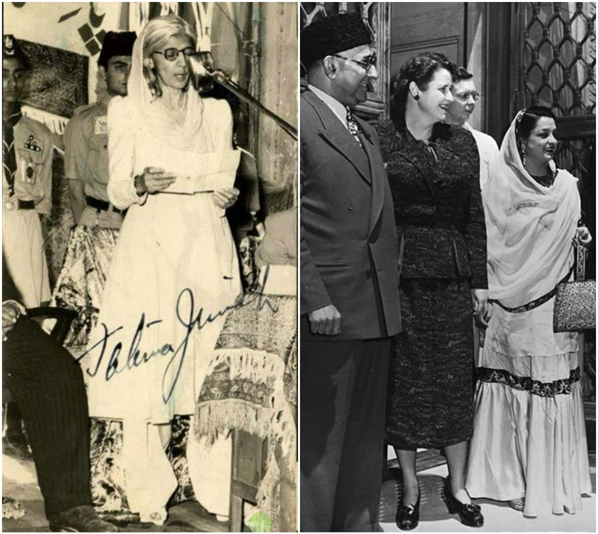Fatima Jinnah and Begum Liaquat Ali Khan (far right)
