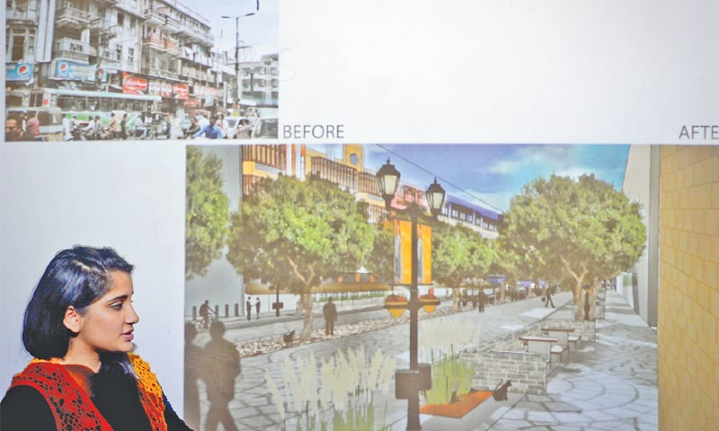 Burnes Road as it is now and what it can look like after redesigning as conceived by architecture students of the Indus Valley School of Arts and Architecture as a part of their fourth year project.—Fahim Siddiqi / White Star