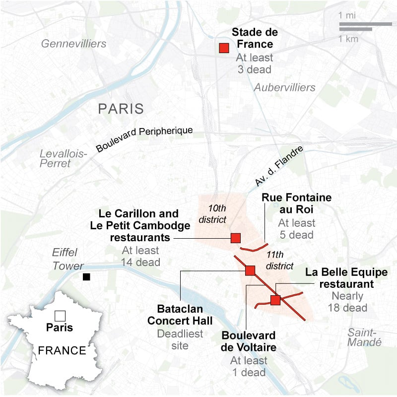 Map showing sites attacked in Paris on Friday. —AP Interactive