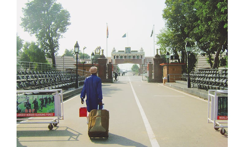 LEAVING the white line behind on the Wagah-Attari border.—Photo by writer