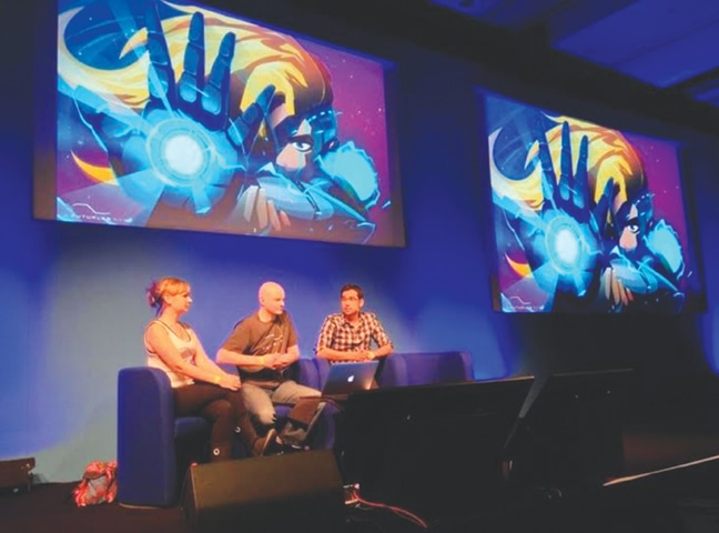 Presenting at EuroGamer conference with my partners in London -Photos provided by the writer