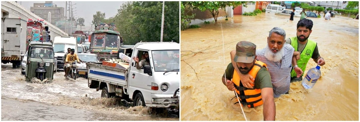 Fear of drowning on the Karachi streets should be registered as a phobia – Photos: Dawn