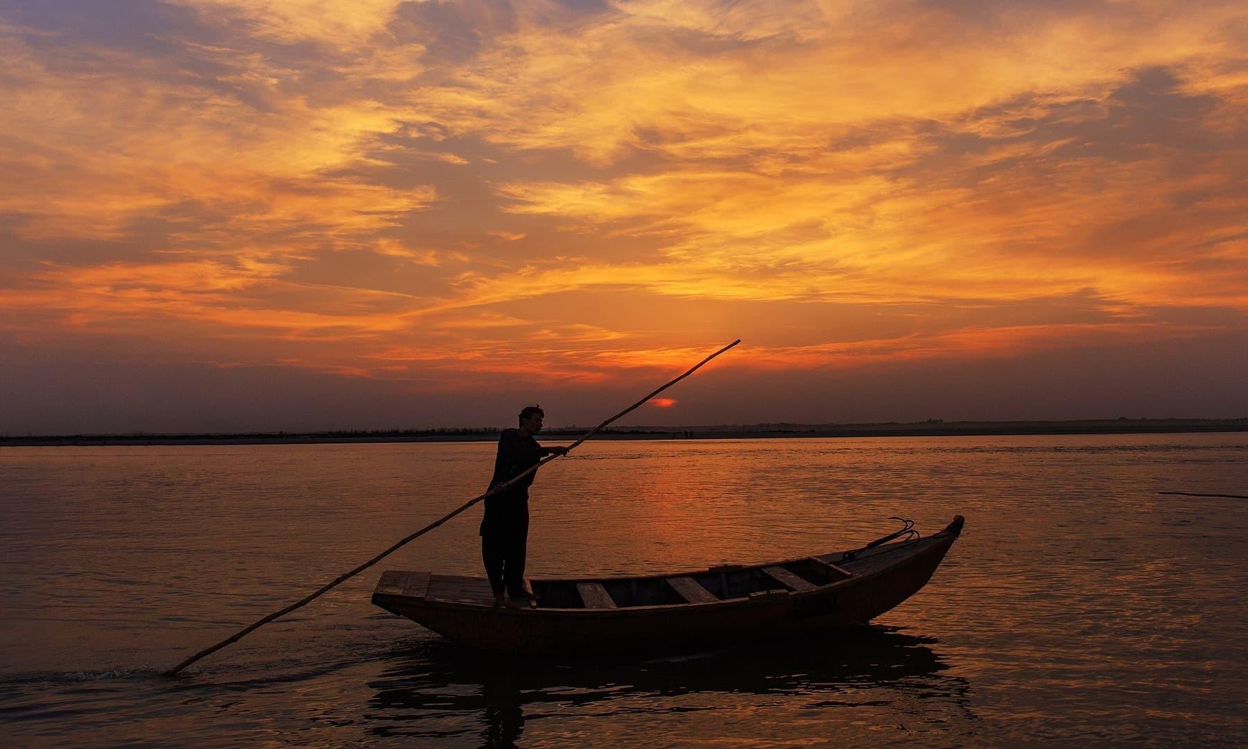 Evening rowing.