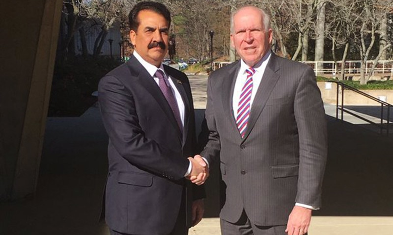 COAS Gen Raheel Sharif and Director CIA John Brennan outside the director office at the CIA headquarters in Langley, Virginia. —Photo: ISPR