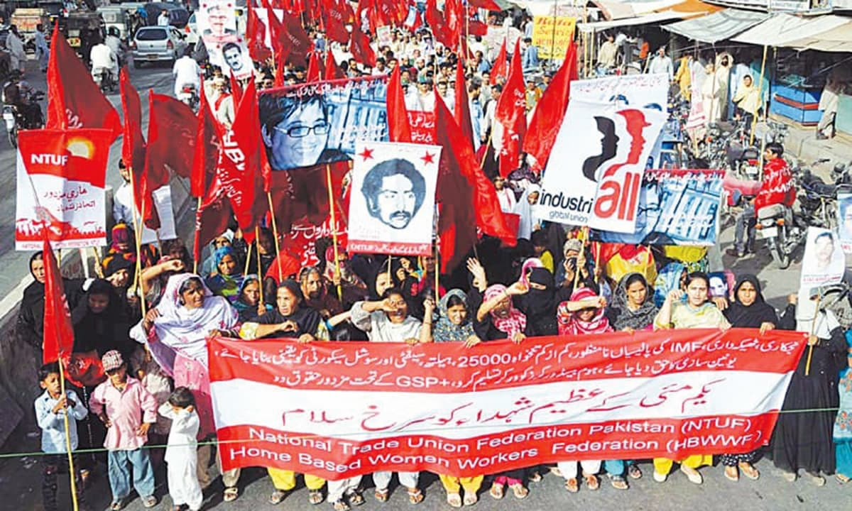 A rally organised by the National Trade Unions Federation in Karachi, on May 1, 2015|PPI