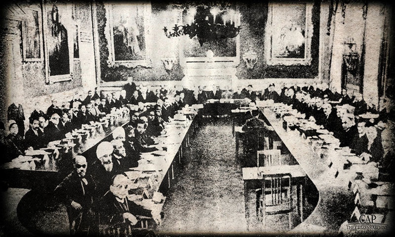 Allama Iqbal at the Round Table Conference in 1931. —Photo by The Citizens Archive of Pakistan
