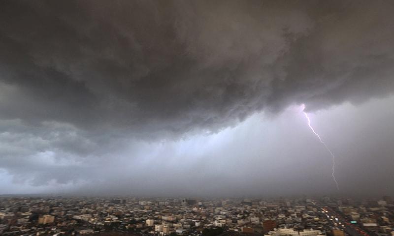 Lightning strikes over Jeddah skyline, Saudi Arabia. — Reuters