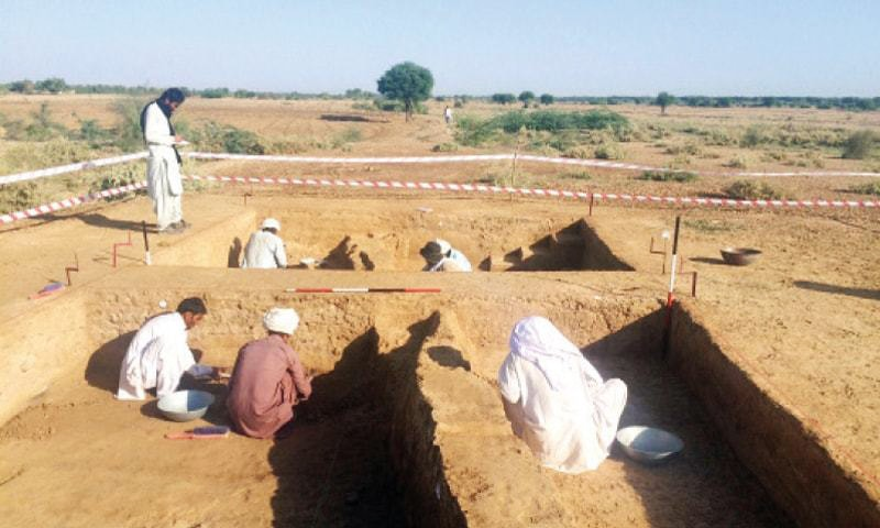 Excavation underway at Sikandar South site in Dera Ismail Khan. — Dawn