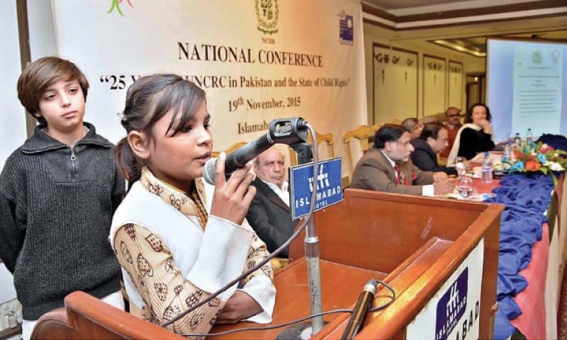 Kiran Sarwar, a child labourer, narrates her experiences at the conference on child rights. —APP