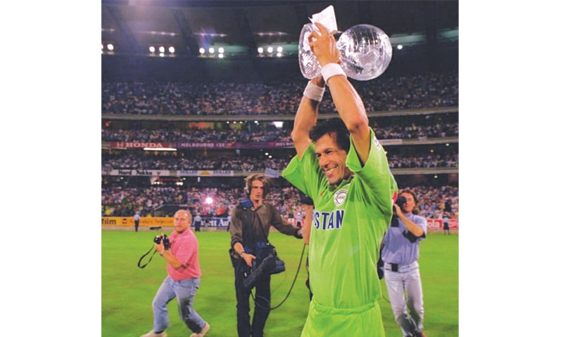 Imran Khan with the 1992 cricket World Cup