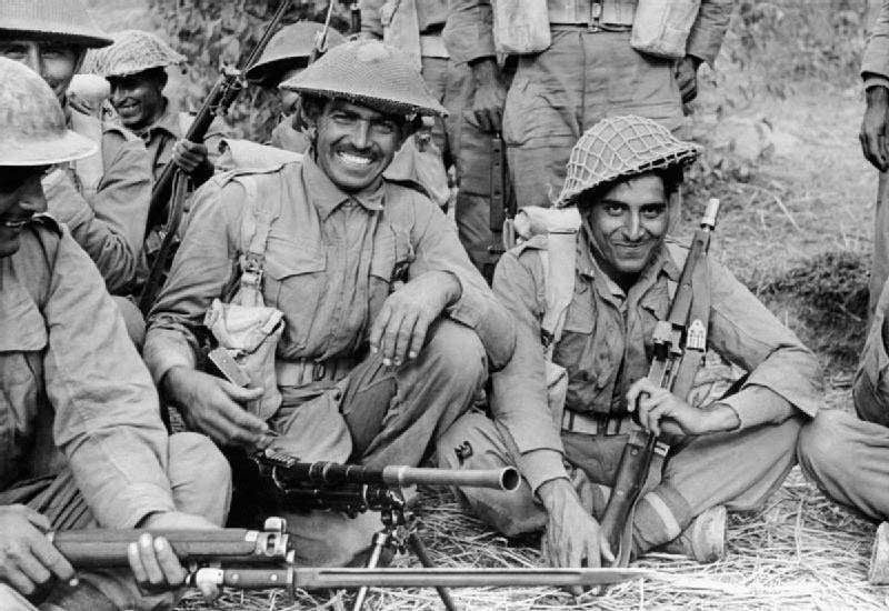 An Indian infantry section of the 2nd Battalion, 7th Rajput Regiment, about to go on patrol on the Arakan front, Burma, during WWII. 	  — Courtesy Wikimedia Commons