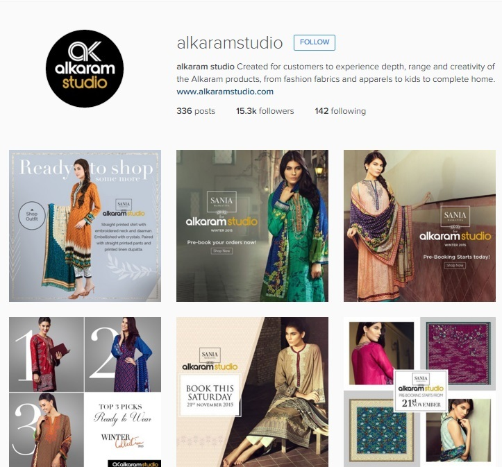 Alkaram's Instagram account mainly has shots from their catalogue.