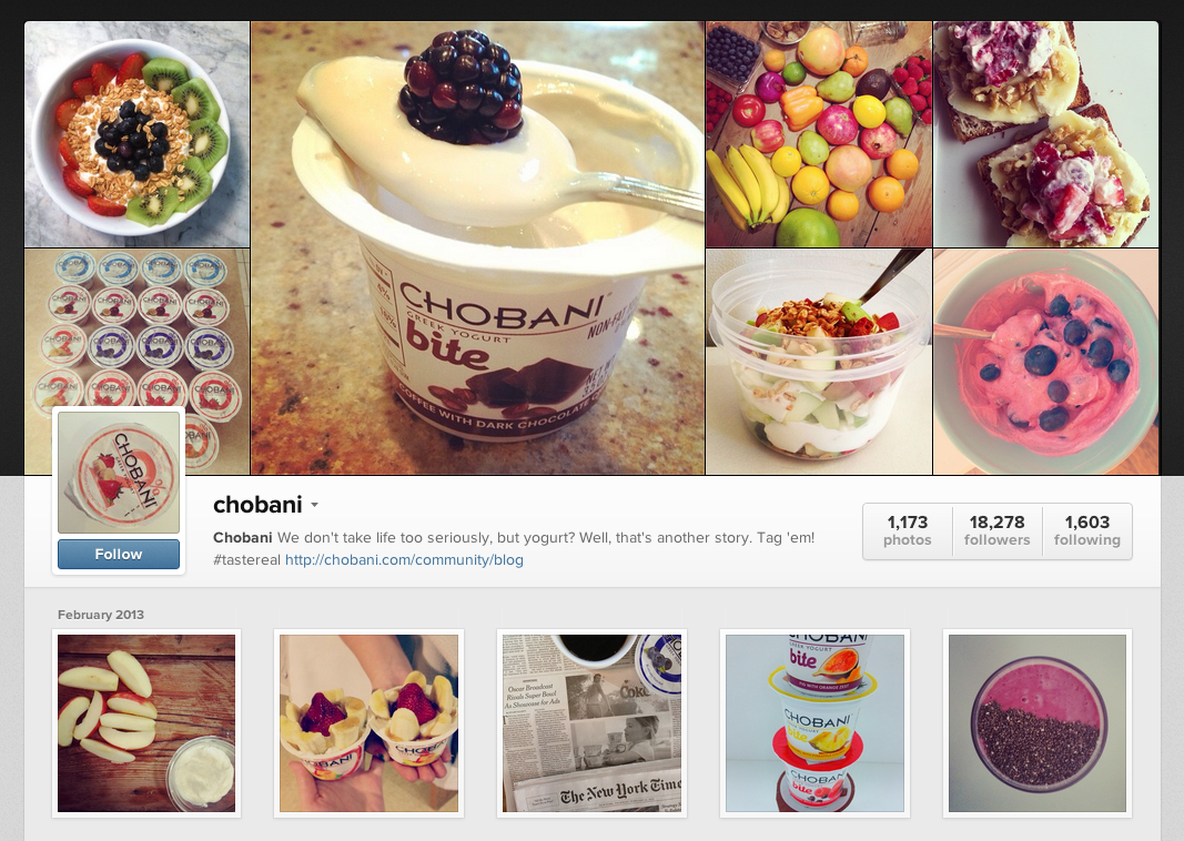 Greek yogurt brand Chobani invite their fans to post pictures of their creations.