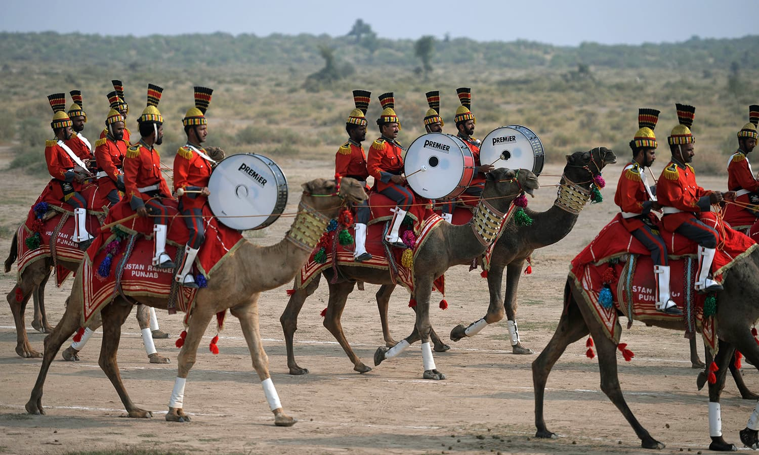 In this photograph taken on November 13, 2015, band members of Pakistan Desert Rangers, sit on their camels as they perform during a march in Moj Garh, some 100 kilometres east of Bahawalpur in Punjab province. —AFP