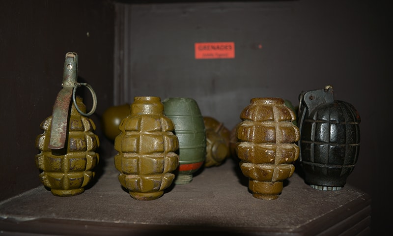 Hand-grenades stored in the main PSEH lobby. — Photo by author