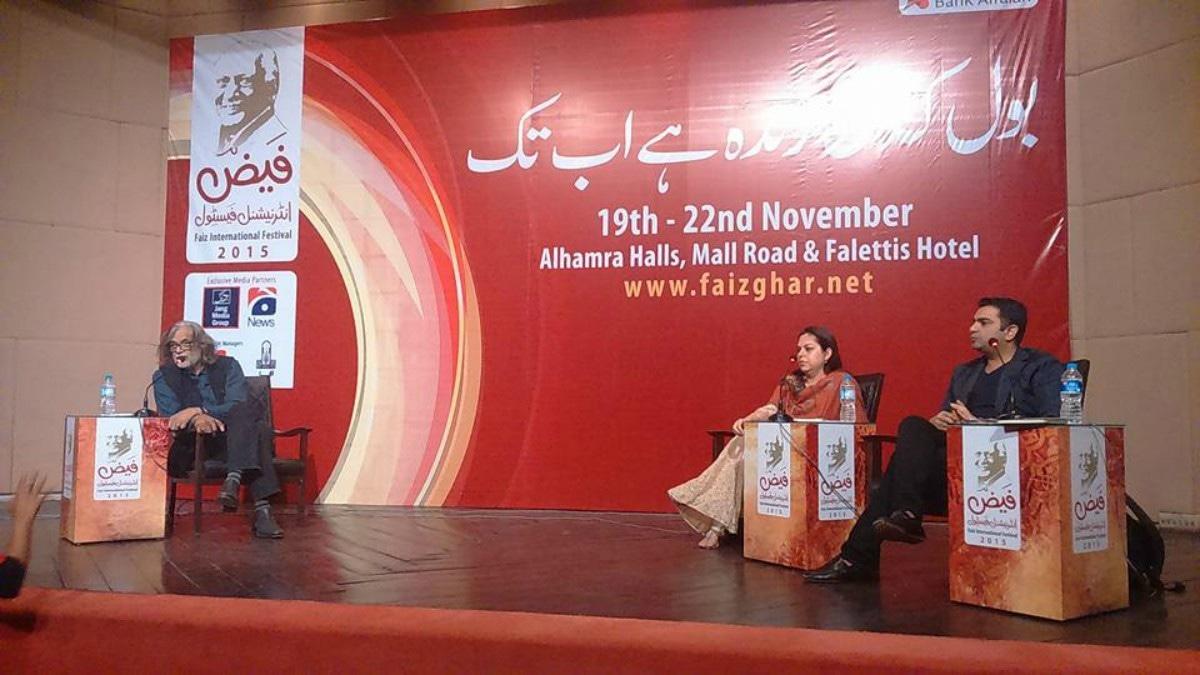 Muzaffar Ali in Conversation with Mira Hashmi and Sarmad Khoosat —Photo courtesy: Mona Nwz