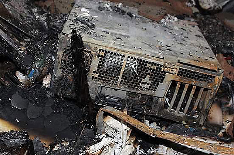 The channel had its equipment worth over Rs1 million destroyed in the fire, said the SHO. ─Photo: Ali Chishti