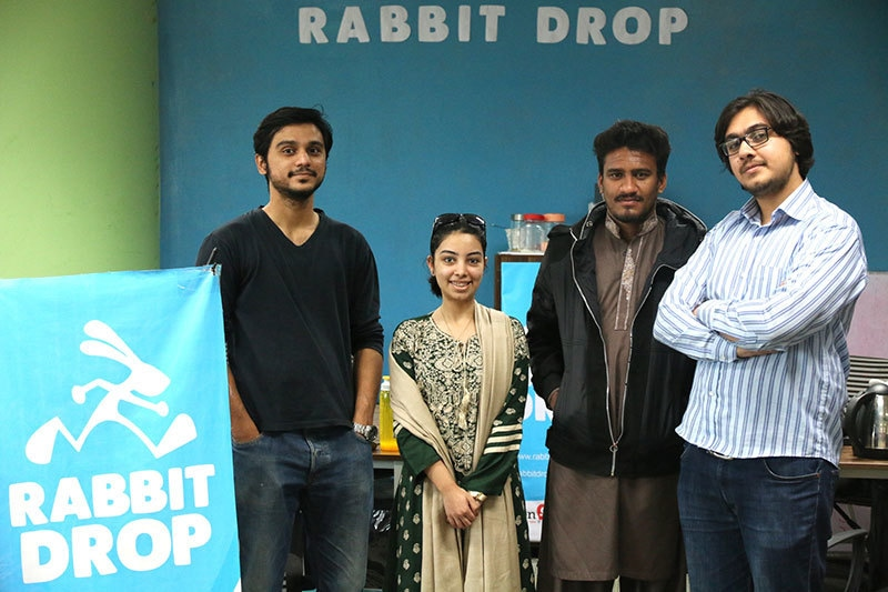 Rabbit Drop's Aitizaz Khan with his team.