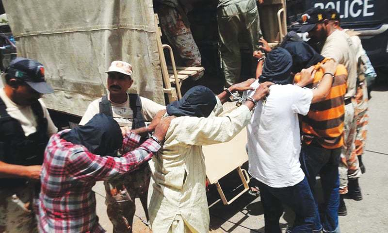 Four arrested MQM men involved in target killing: Rangers