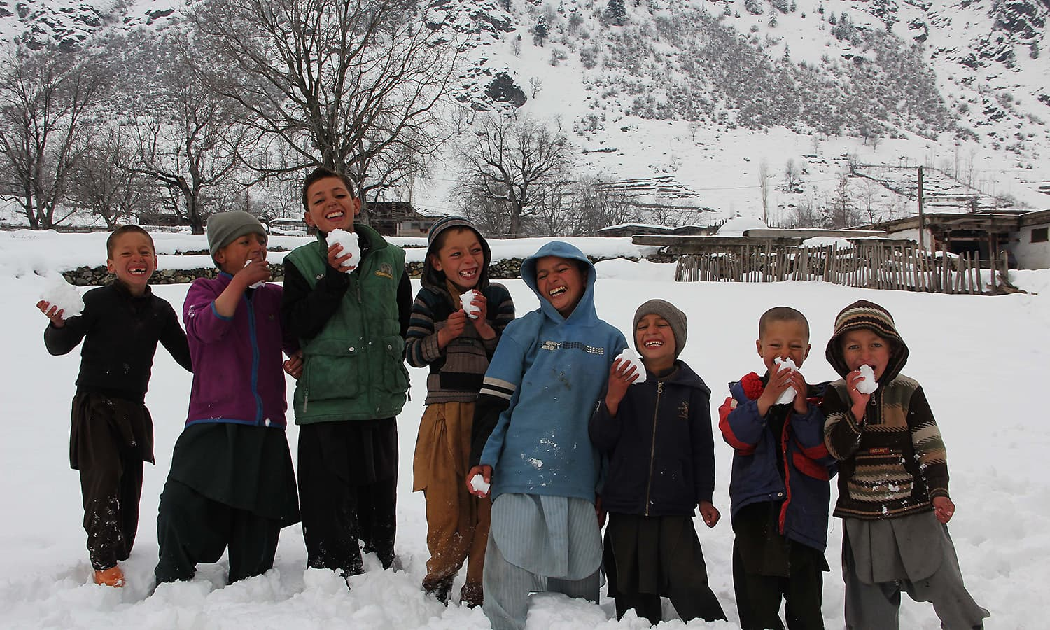 Children in Kalam in a jubilant mood after heavy snowfall in their village. — Photo by author