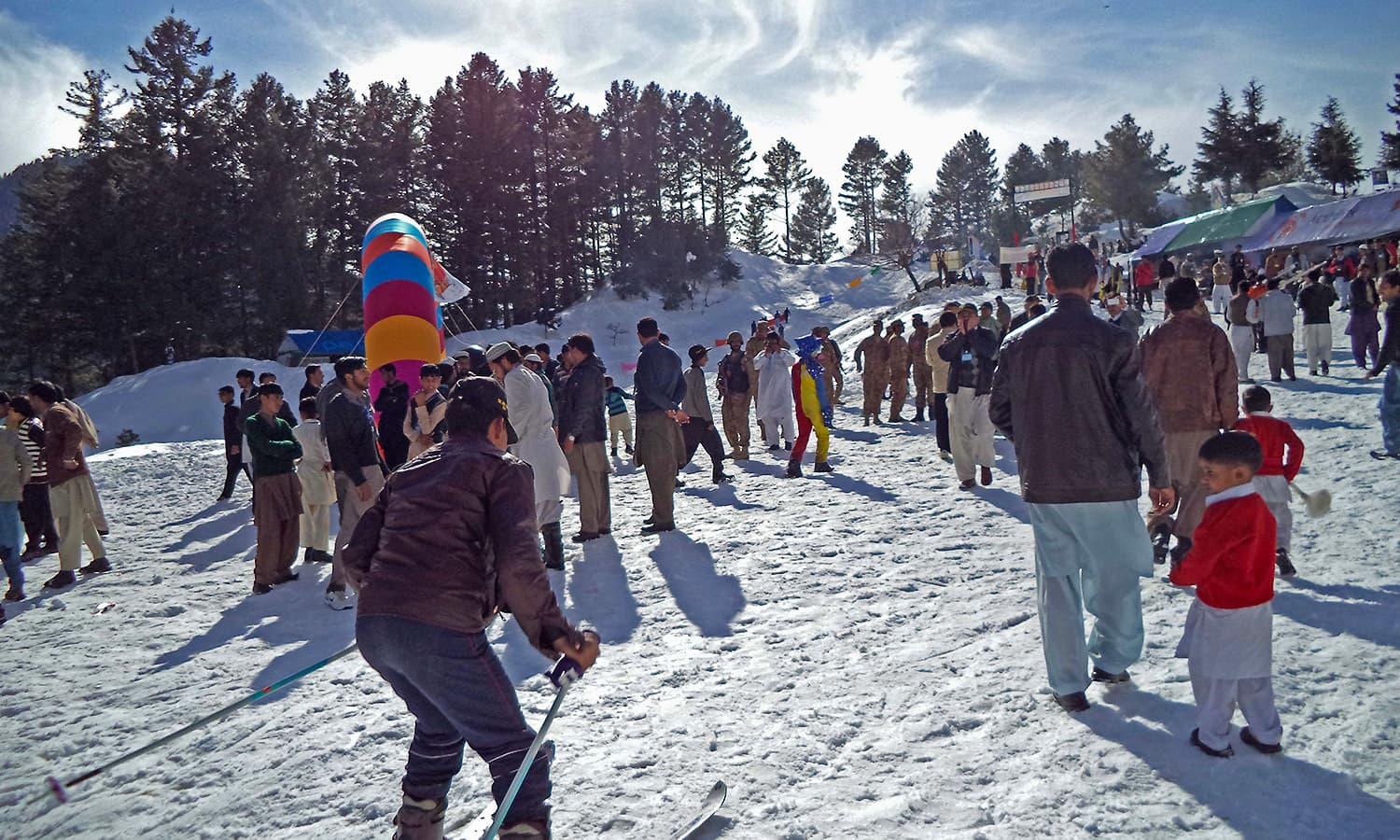 Tourists throng Malam  Jabba to enjoy the snow.  — Photo by author