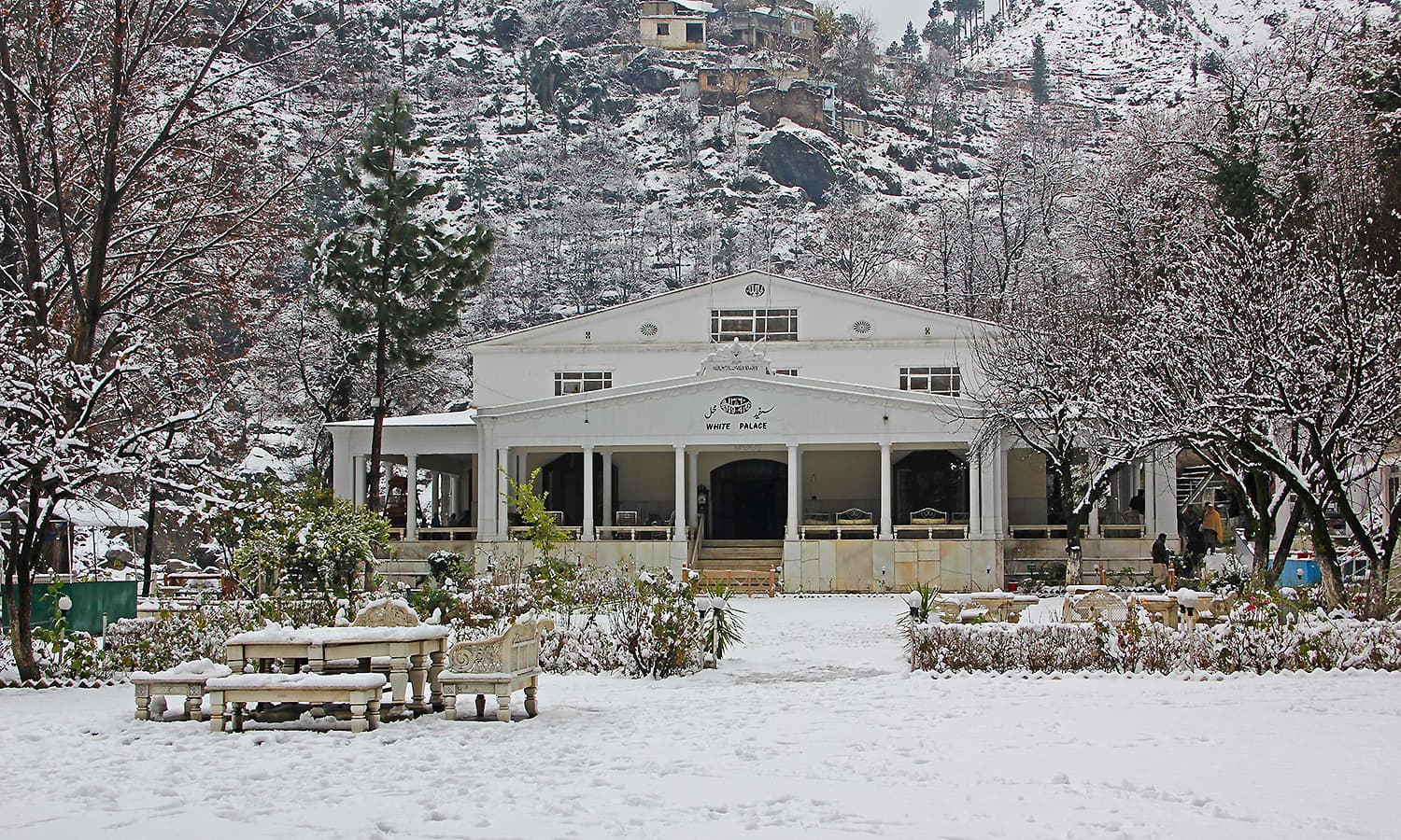 A  view of White Palace blanketed with snow at Marghuzar.  — Photo by author