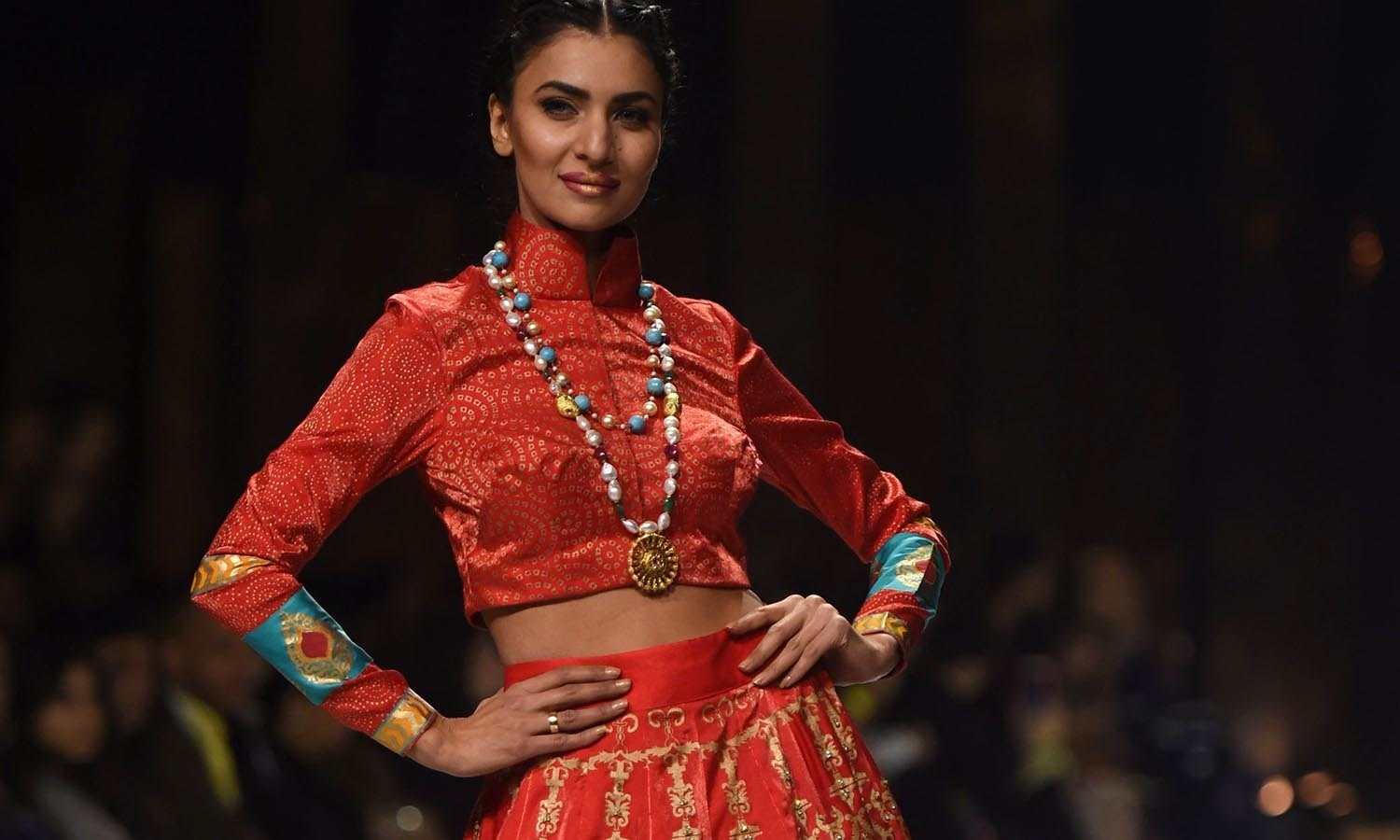A model presents a creation by designer Wardha Saleem on the second day of the Fashion Pakistan Week in Karachi. — AFP