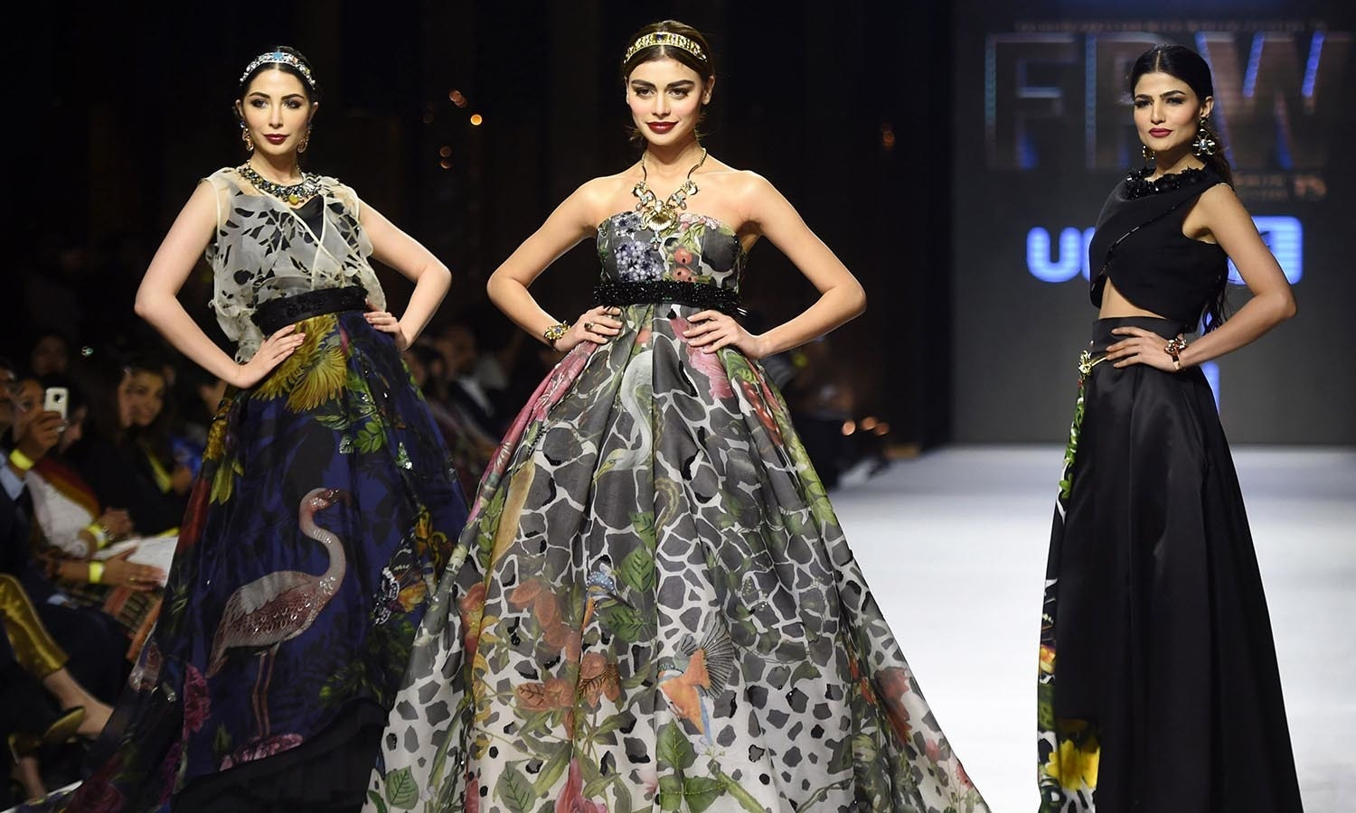 Models present creations by  designer Elan on the second day of the Fashion Pakistan Week in Karachi. — AFP