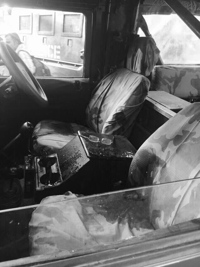 A view of the interior of the Military Police vehicle.