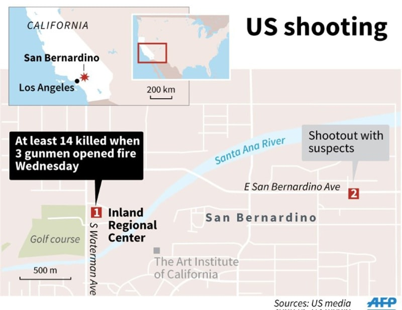 A map showing the shooting site. — AFP