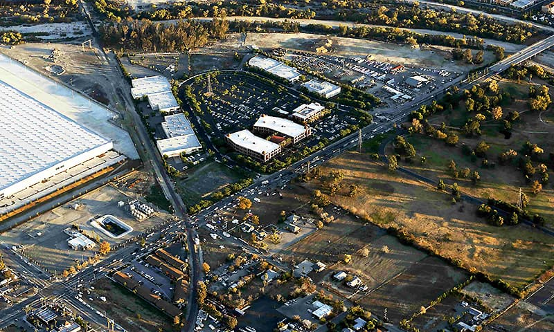 The Inland Regional Center complex is pictured in an aerial photo following the shooting. ─ Reuters