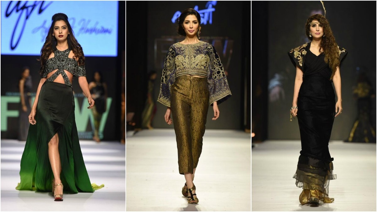 From L-R: These pieces from Ayesha Farook Hashwani, FnkAsia and Nilofer Shahid caught our eye on the runway