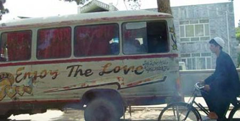 A bus for tourists in Peshawar (1973).