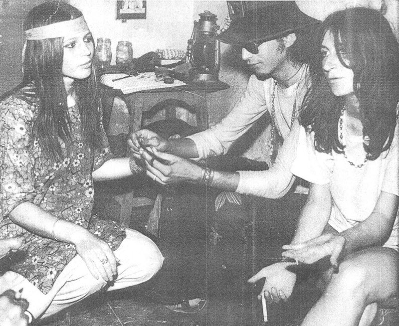 Hippies at a low-rent hotel in Karachi's Saddar area in 1973. —Photo courtesy of The Herald