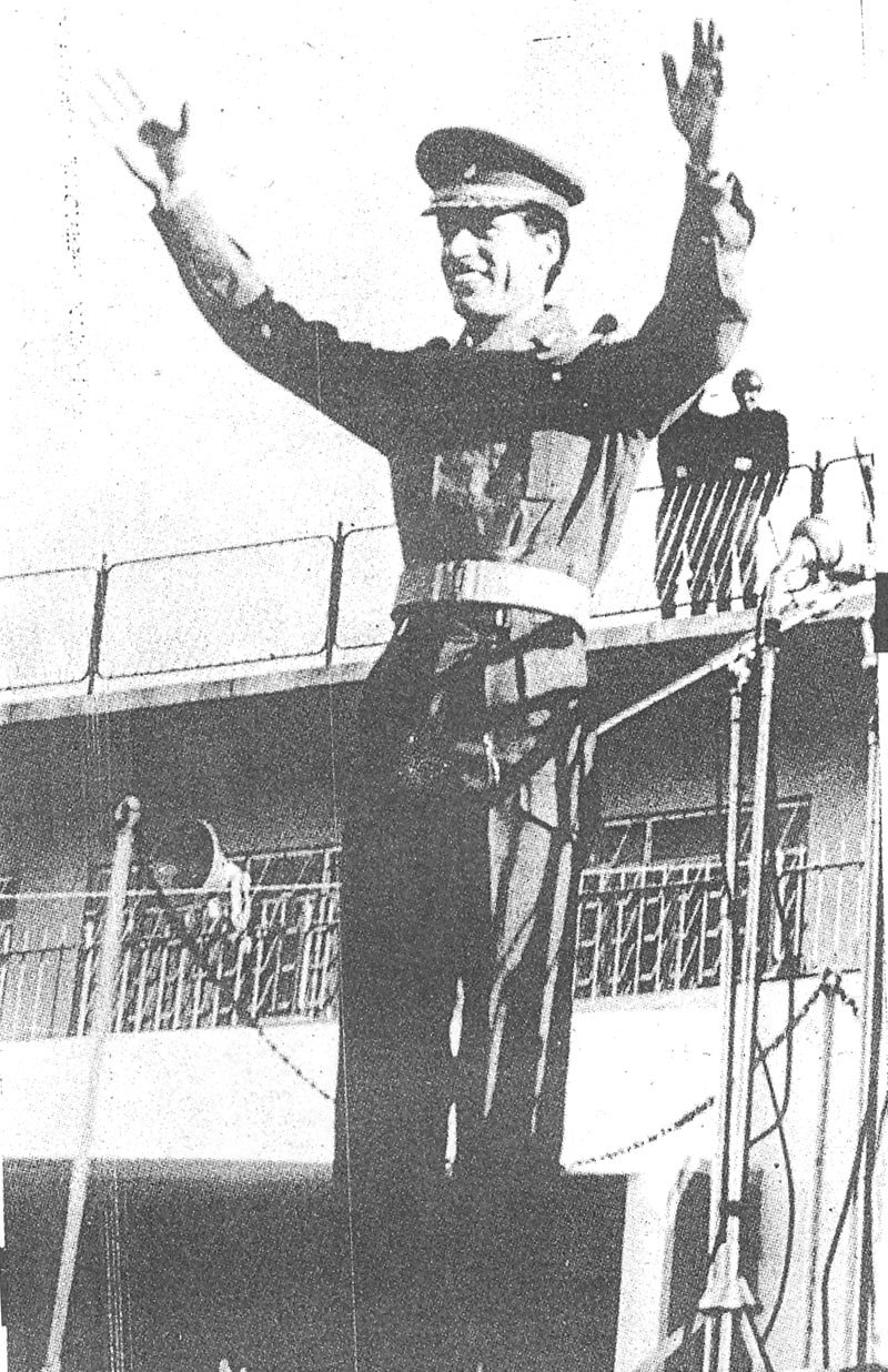 Libya's Col. Qaddafi speaking at a rally in Lahore (1974).