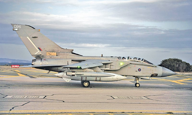 Akrotiri (cyprus): British Royal Air Force Tornado GR4 aircraft is seen on the tarmac at the British airbase here on Thursday.—AFP