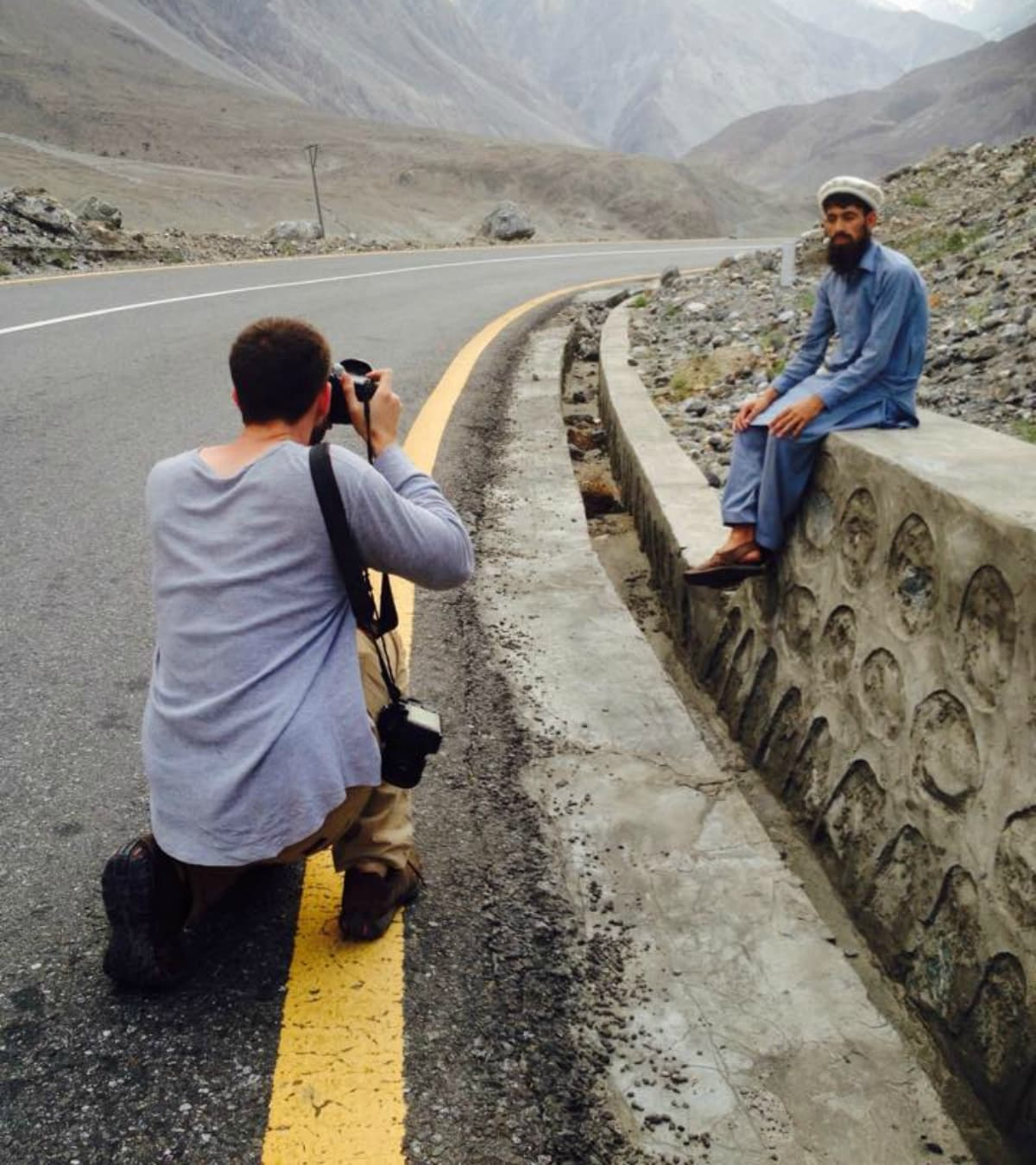 Humans of New York photographer Brandon Stanton shoots a Hunza resident - Photo courtesy Hunza on Foot