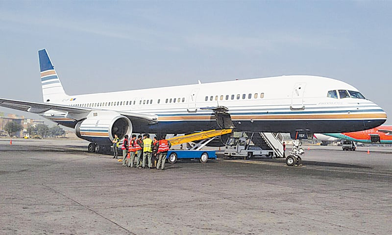 This photograph released by the interior ministry shows the Greek charter plane that landed at the Benazir Bhutto International Airport on Thursday. The aircraft was carrying at least 30 'undocumented' migrants.—AFP