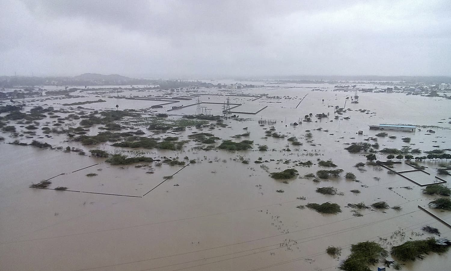 Flooded areas are pictured on the outskirts of Chennai, India, December 2, 2015. — Reuters