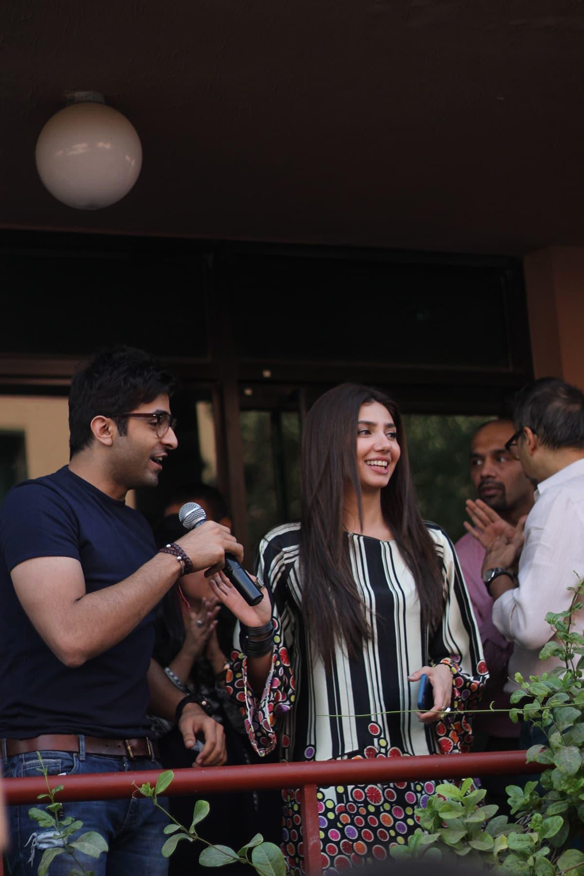 Mahira Khan and Sheheryar Munawar speaking to the students. — Photo by Saad Arfin