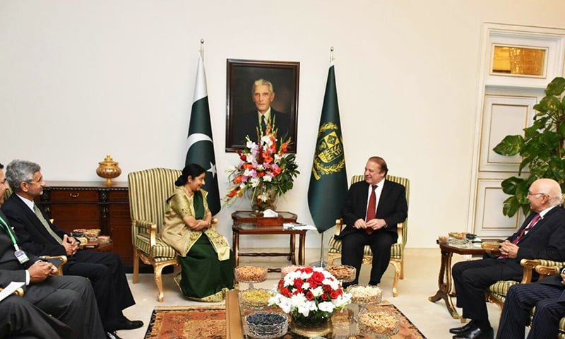 Prime Minister Nawaz Sharif and Indian Minister for External Affairs Sushma Swaraj are conducting a meeting to discuss bilateral issues. -PM House
