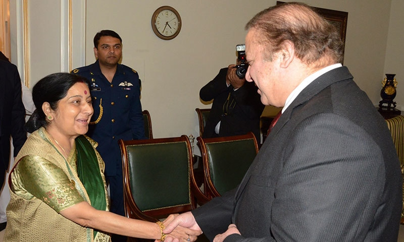 Prime Minister welcoming Indian Foreign Minister