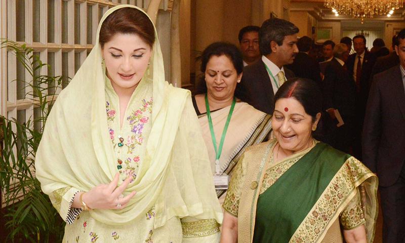 Swaraj also met Prime Minister's daughter Maryam Nawaz.─ Photo: Irfan Haider