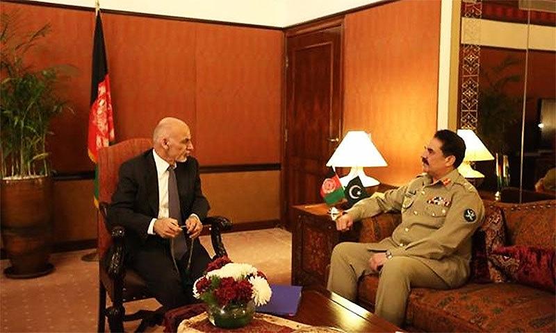 General Raheel Sharif in meeting with Afghan President Ashraf Ghani. ─ISPR