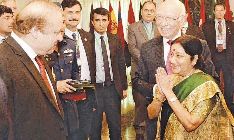 ISLAMABAD: Prime Minister Nawaz Sharif meets Indian Foreign Minister Sushma Swaraj at the Heart of Asia – Istanbul Process meeting here on Wednesday. – White Star