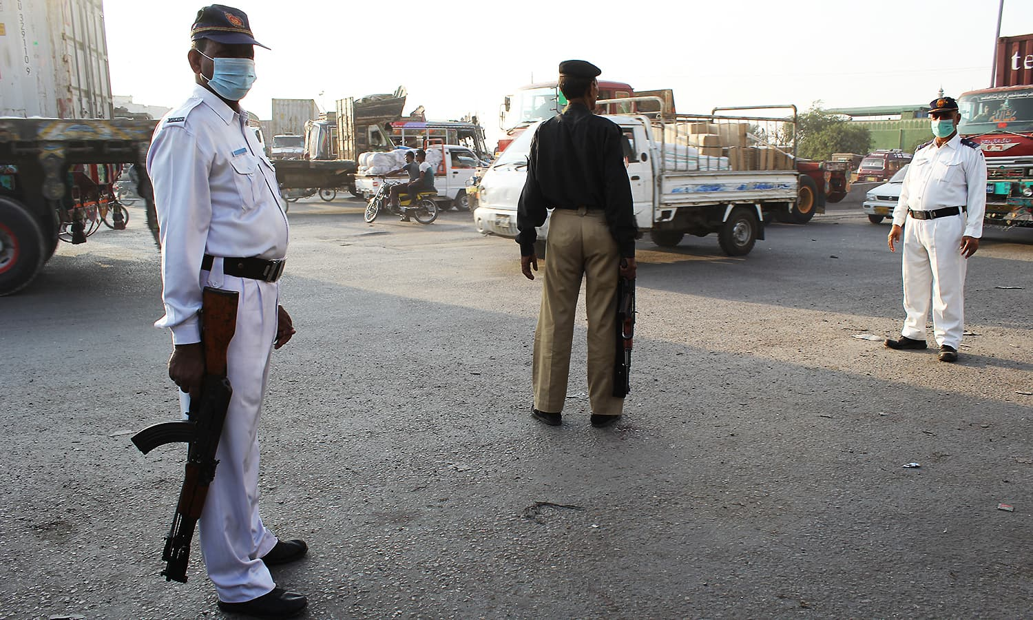 Traffic policemen have started carrying firearms after the surge in attacks on the cops. ─ Photo by author